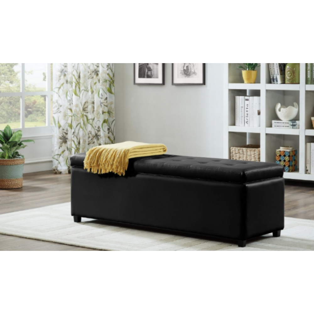 Bedroom Chairs And Ottomans: Luxe Leatherette Storage Ottoman